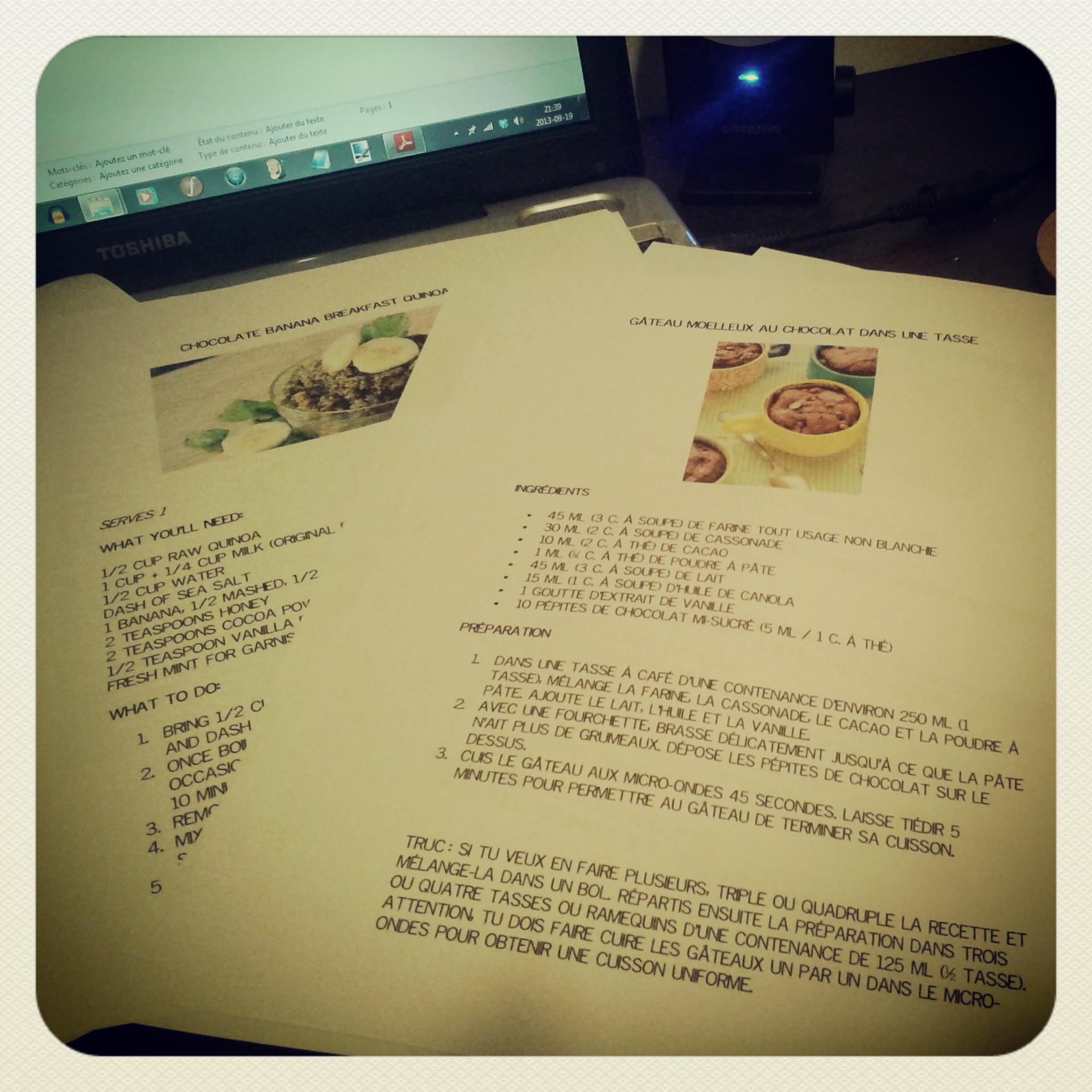 J'ai travaillé fort sur la mise en page - je voulais que les recettes entre sur un côté de feuille!